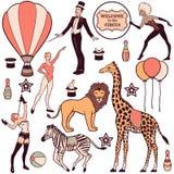 Ensemble d'éléments, de personnes, d'animaux et de décorations de cirque Photos stock