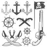 Ensemble d'éléments de pirate de vintage, tatouage, icône, T-shirt Photo libre de droits