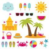 Ensemble d'éléments de plage d'été Images libres de droits