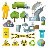 Ensemble d'éléments de pollution environnementale illustration libre de droits