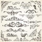 Ensemble d'éléments de remous pour la conception Décoration calligraphique de page, labels, bannières, antiquité et vues baroques illustration stock