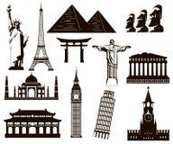 Ensemble d'éléments de silhouettes de points de repère du monde Vecteur Photographie stock
