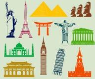 Ensemble d'éléments de silhouettes de points de repère du monde Vecteur Images stock