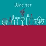 Ensemble d'éléments de vin Photographie stock