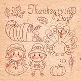 Ensemble d'éléments de vintage pour le thanksgiving. Image stock