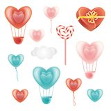 Ensemble d'éléments en forme de coeur et de nuage de décoration Photos libres de droits