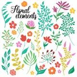 Ensemble d'éléments floral tiré par la main illustration stock