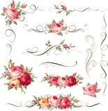 Ensemble d'éléments floraux calligraphiques Ornement avec des roses de vintage pour le décor de page Image libre de droits