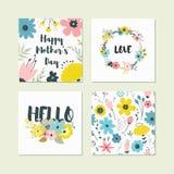 Ensemble d'éléments floraux colorés mignons Photographie stock libre de droits