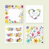 Ensemble d'éléments floraux colorés mignons Photos stock