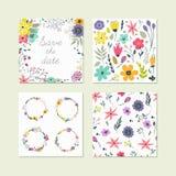 Ensemble d'éléments floraux colorés mignons Photos libres de droits