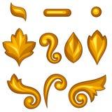 Ensemble d'éléments floraux ornementaux baroques d'or illustration libre de droits