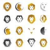 Ensemble d'éléments héraldique de Lion Faces Manteau héraldique de decorati de bras Photo stock