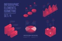 Ensemble d'éléments infographic colorés de vecteur : graphiques de présentation, statistiques des données et diagrammes Photos stock