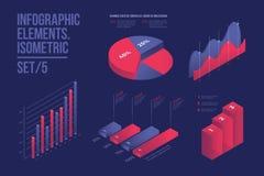 Ensemble d'éléments infographic colorés de vecteur : graphiques de présentation, statistiques des données et diagrammes Images stock