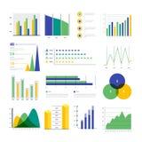 Ensemble d'éléments infographic de couleur Dirigez les diagrammes et les graphiques, statistiques des données Images stock