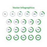 Ensemble d'éléments infographic de graphique circulaire 0, 5, 10, 15, 20, 25, 30, 35, 40, 45, 50, 55, 60, 65, 70, 75, 80, 85, 90, illustration de vecteur