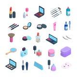 Ensemble d'éléments isométrique de maquillage de vecteur icônes de la dimension 3d des cosmétiques et des soins de la peau Eyshad illustration libre de droits