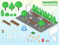 Ensemble d'éléments isométrique de ville Images stock