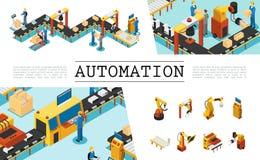 Ensemble d'éléments isométrique d'usine automatisée illustration stock