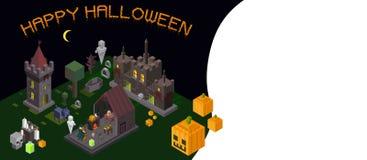 Ensemble d'éléments isométriques de Halloween Château, tour, sorcière, fantôme illustration libre de droits