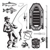 Ensemble d'éléments monochrome de pêche illustration libre de droits
