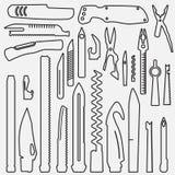 Ensemble d'éléments multifonctionnels rayés de couteau, ligne illustration de couteau de poche, couteau suisse, canif universel,  Photo libre de droits