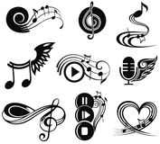 Ensemble d'éléments musical de conception Photos stock