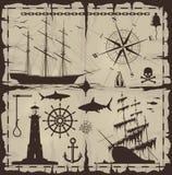 Ensemble d'éléments nautiques de conception illustration de vecteur