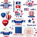 Ensemble d'éléments patriotique de vecteur de vacances des Etats-Unis illustration libre de droits