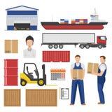 Ensemble d'éléments plat de logistique illustration libre de droits