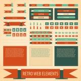 Ensemble d'éléments plat de Web de vintage de vecteur rétro illustration stock