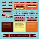 Ensemble d'éléments plat de Web de vintage de vecteur rétro Photographie stock libre de droits