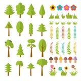 Ensemble d'éléments plats de forêt Incluez les champignons, herbe, baies, illustration de vecteur