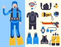 Ensemble d'éléments plats pour les outils professionnels de plongée spearfishing de chasseur de mer de plongeur de vecteur protec Photos stock