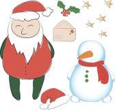 Ensemble d'éléments pour nouvelle le décor d'année ou de Noël Le père noël _2 Photographie stock libre de droits