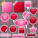Ensemble d'éléments roses et rouges Photographie stock libre de droits