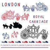 Ensemble d'éléments royal peu précis de clipart de chariot de Londres Symbole britannique historique célèbre illustration stock