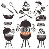 Ensemble d'éléments sur un thème de barbecue illustration de vecteur