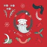 Ensemble d'éléments tiré par la main de conception de Noël avec Santa Claus Image libre de droits