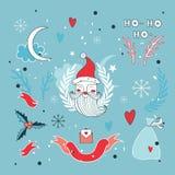 Ensemble d'éléments tiré par la main de conception de Noël avec Santa Claus Image stock