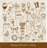Ensemble d'éléments tirés par la main de jour de valentines Photo libre de droits