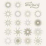 Ensemble d'éléments tirés par la main de starburst de style de vintage Images libres de droits