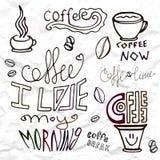 Ensemble d'éléments tirés par la main de thème de café, illustration de vecteur Images libres de droits