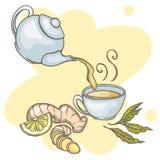 Ensemble d'éléments tirés par la main de thé de gingembre Photographie stock
