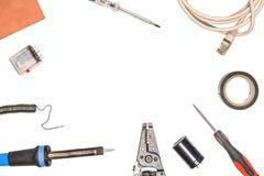 Ensemble d'électricités et de l'électronique Outils et composants électriques Photo libre de droits
