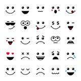Ensemble d'émoticônes ou de ligne icônes d'illustration d'emoji Photo stock