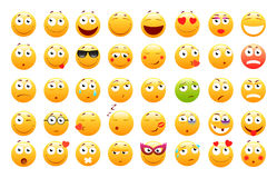 Ensemble d'émoticônes 3d mignonnes Icônes d'Emoji et de sourire Sur le fond blanc Illustration de vecteur illustration stock