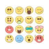 Ensemble d'émoticônes, emoji d'isolement sur le fond blanc illustration libre de droits