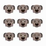 Ensemble d'émoticônes mignonnes de chien Images libres de droits